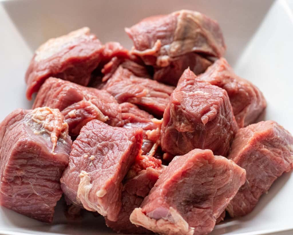 diced beef for bourguignon
