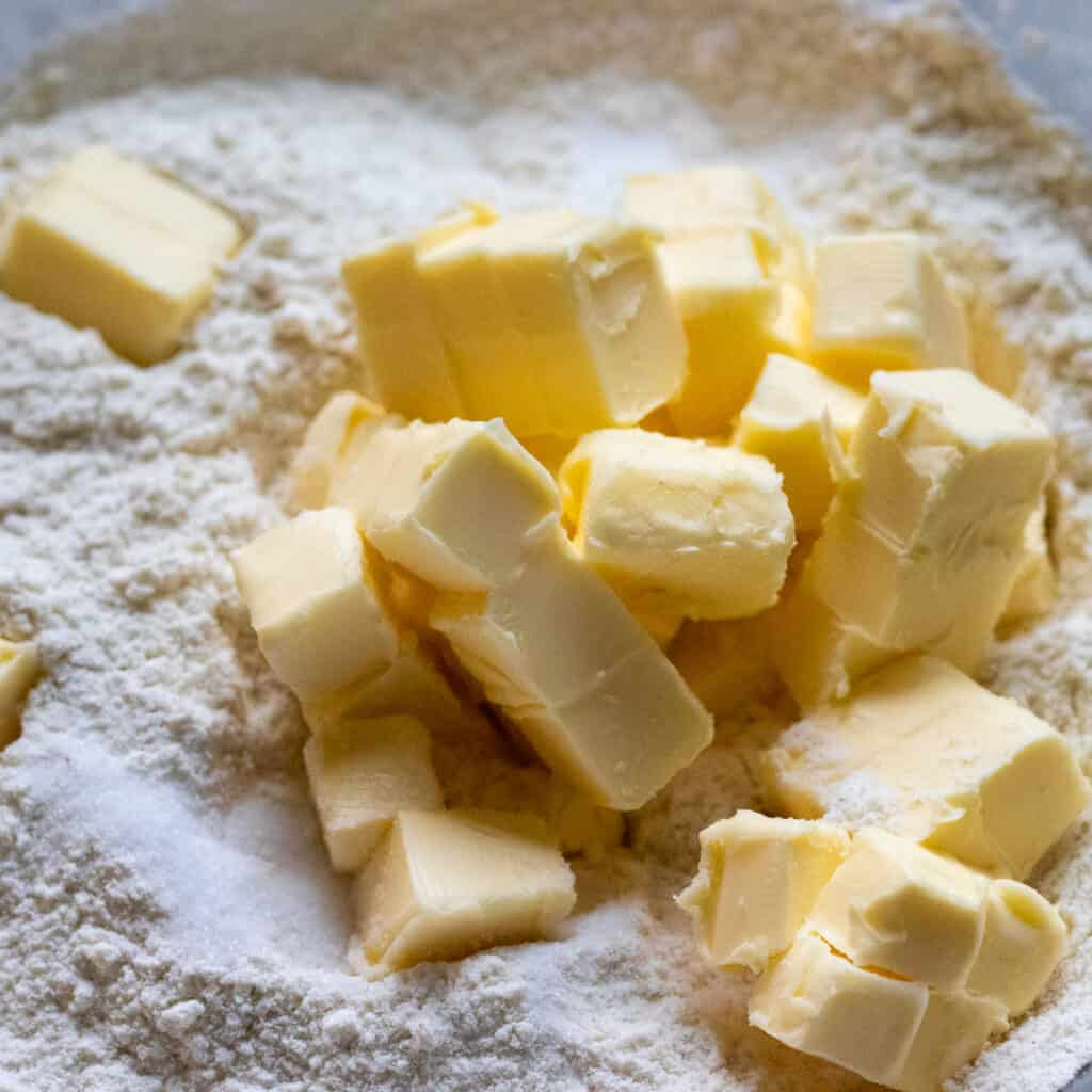 cold butter cut in cubes added to the flour to make shortcrust pastry