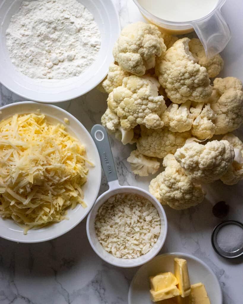 Ingredients for cauliflower cheese recipe