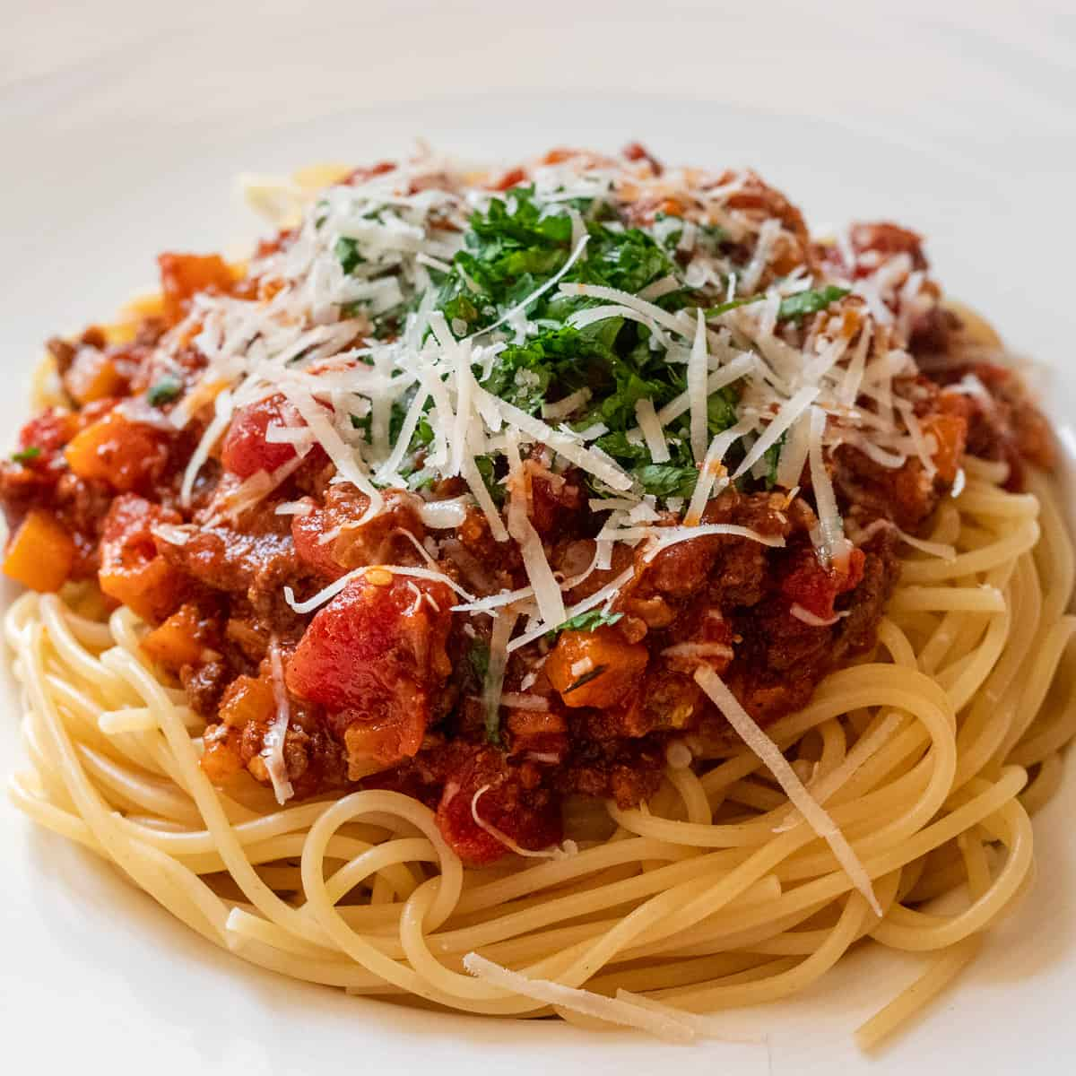 Classic bolognese sauce served with spaghetti
