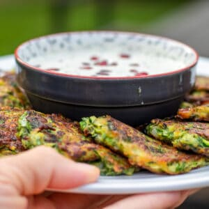 Fritters made with courgette and fresh herbs.