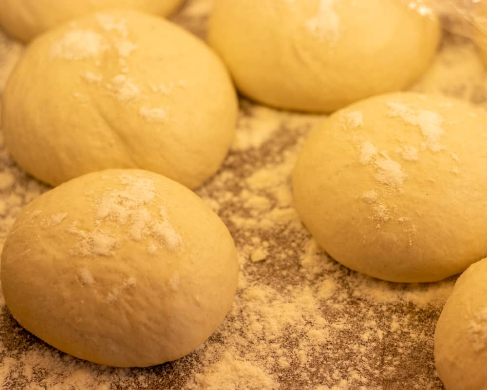 Gozleme dough divided in 5 small balls