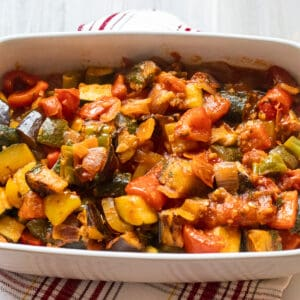 French vegetable stew made with aubergines, courgettes, onions, peppers and tomatoes.