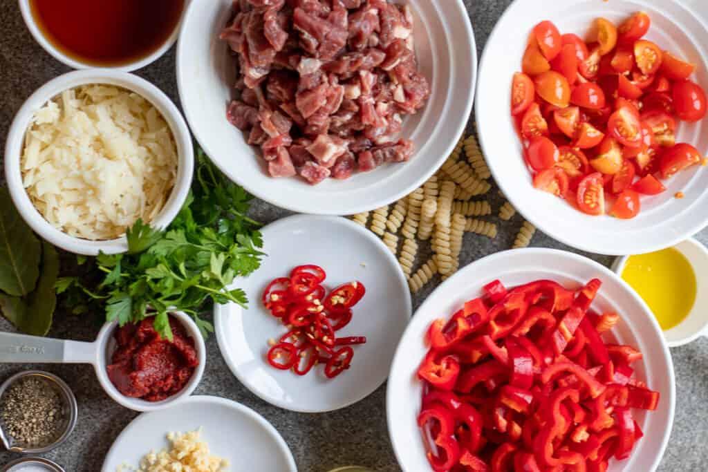 Ingredients for slow cooked Lamb Ragu