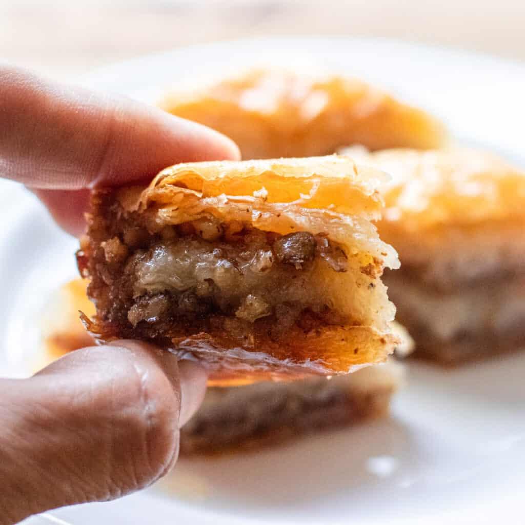 A slice of homemade Turkish baklava