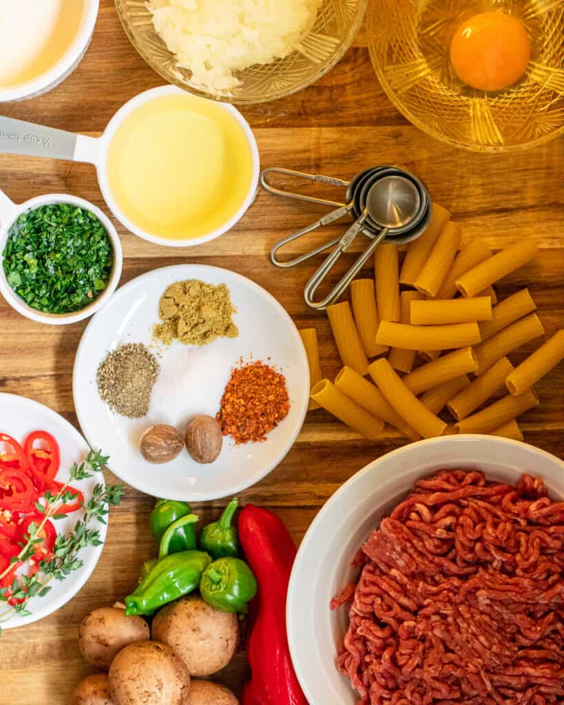Ingredients for spicy meatball pasta
