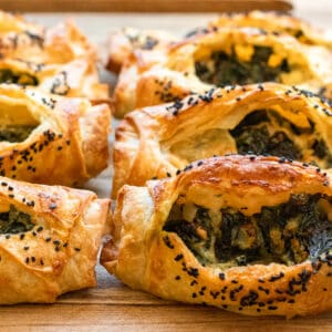 spinach and feta filled savoury pastries