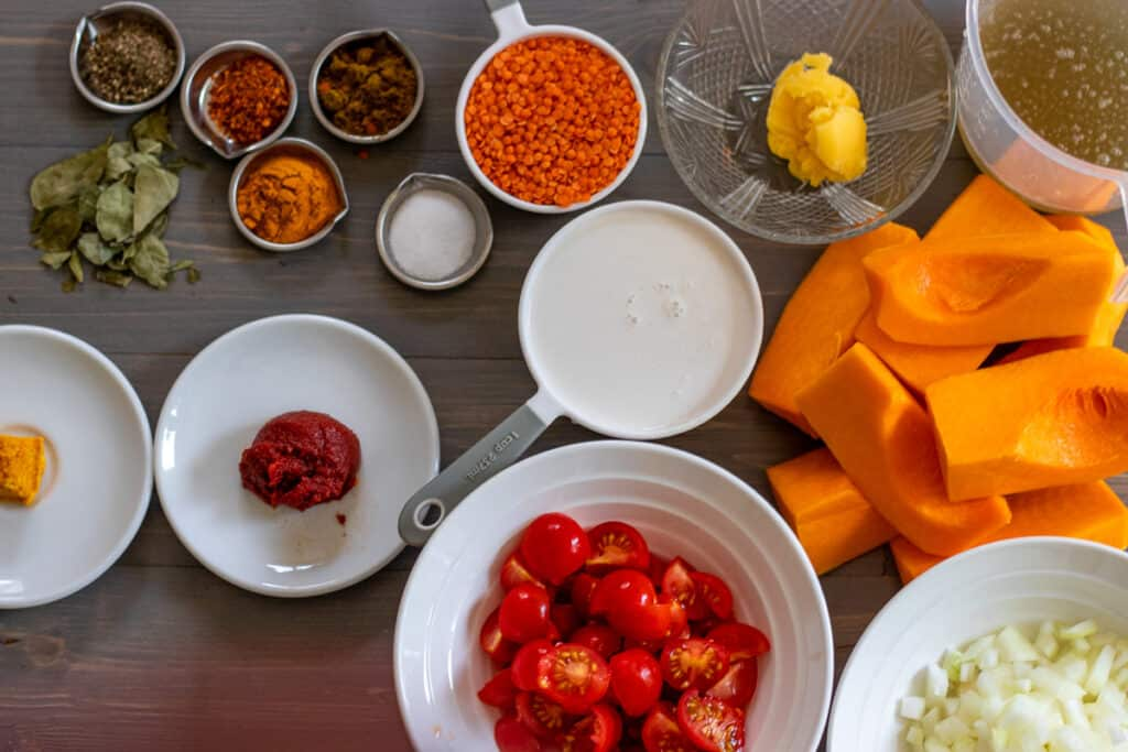 Ingredients for autumn squash soup