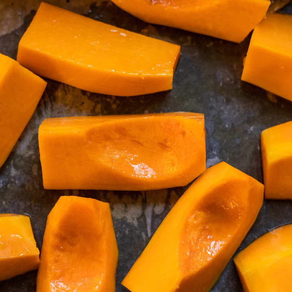 Butternut squash cut in chunky pieces for roasting