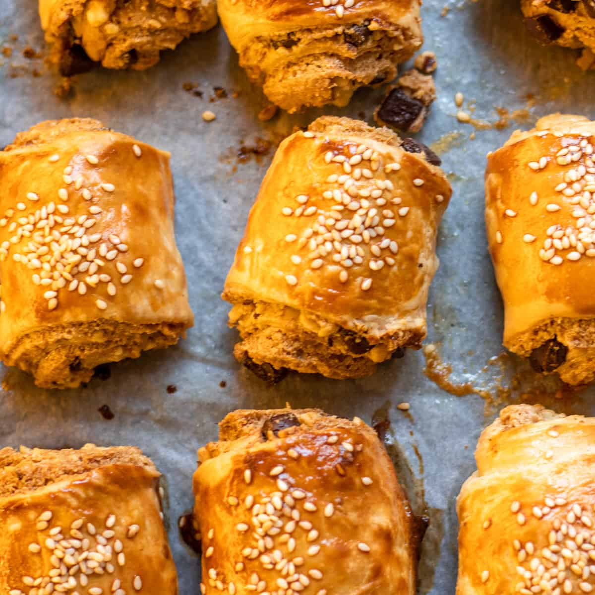 Golden and crispy chocolate and tahini filled pastries
