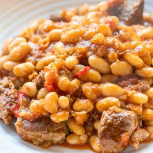 Rich and hearty (kuru fasulye) white bean stew with lamb