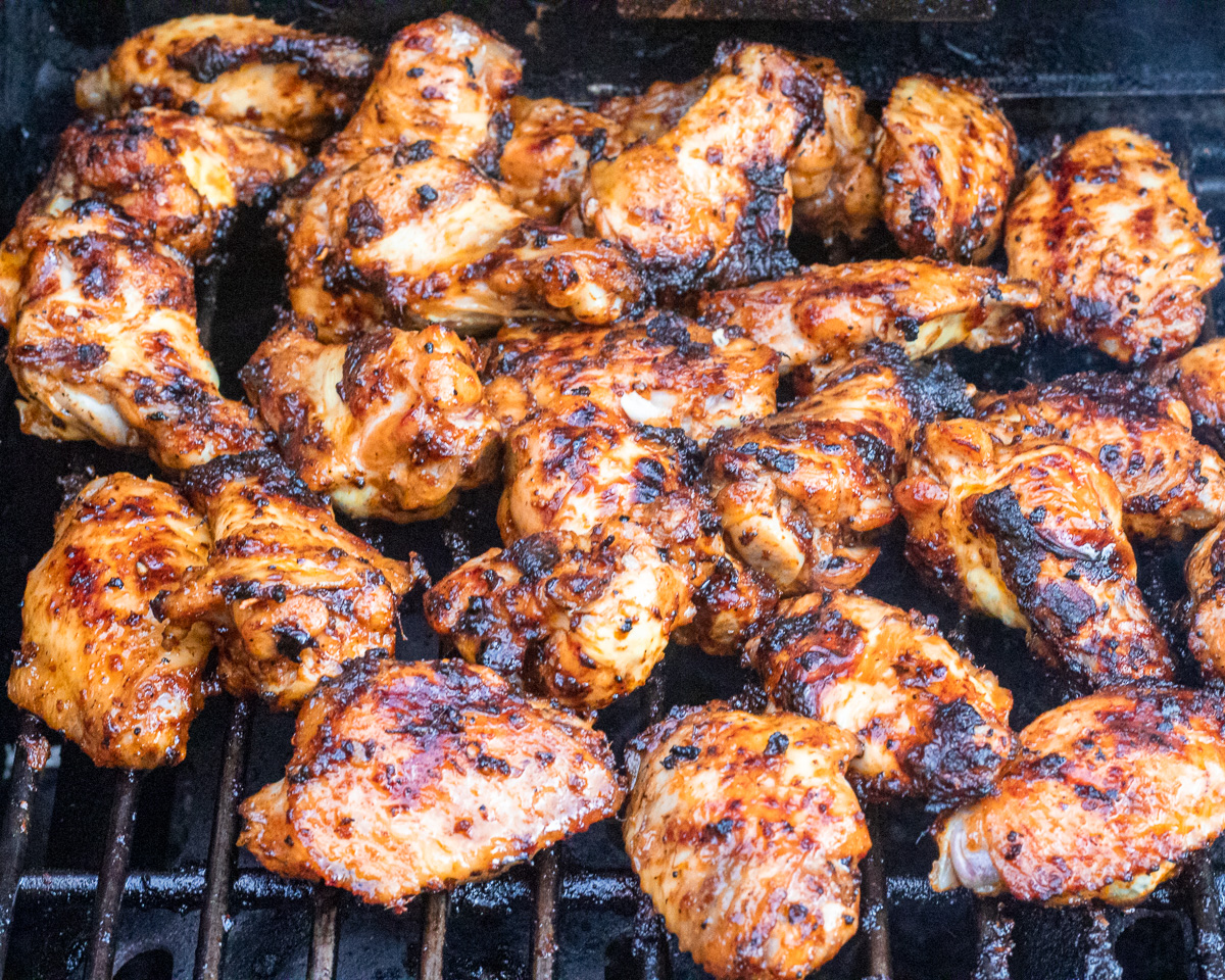 spicy chicken wings cooked on gas BBQ