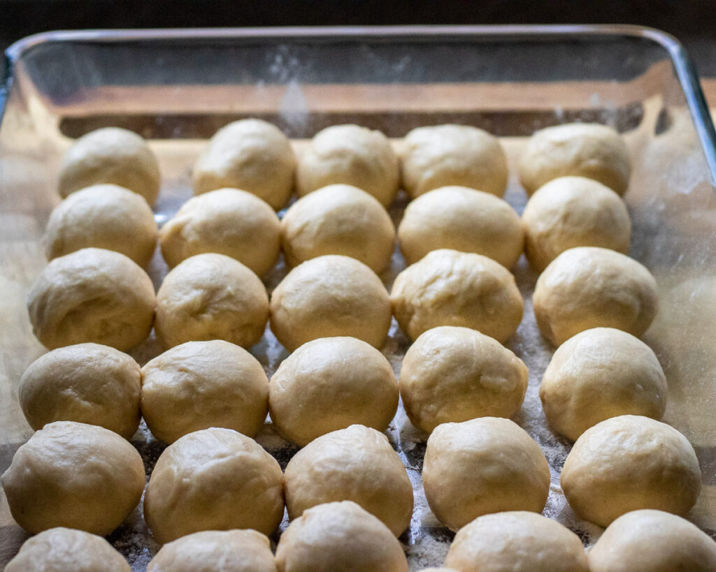 dough balls for making filo pastry sheets.