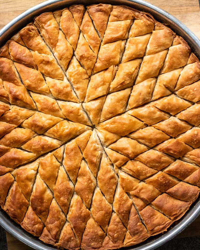 Turkish baklava baked until golden and ready to be soaked in syrup.