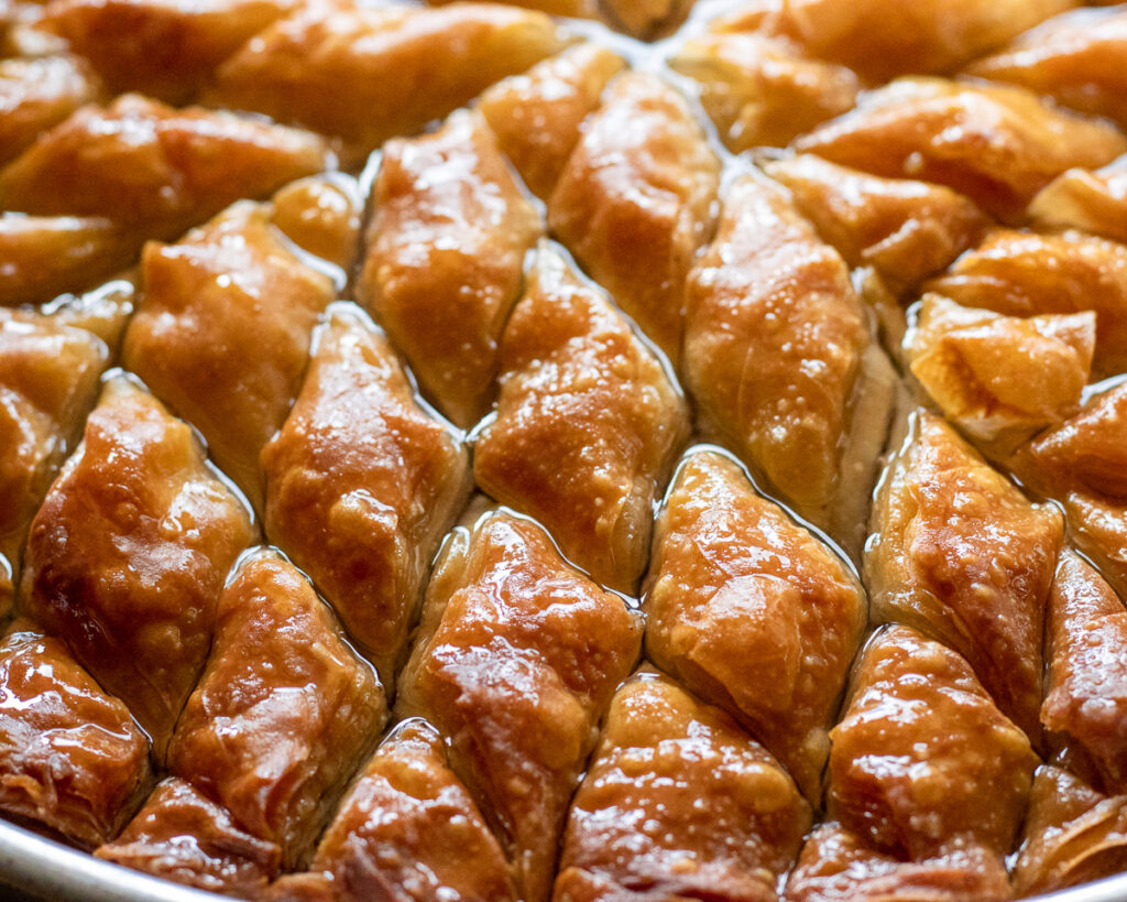 Turkish baklava soaked in syrup.